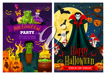 Happy Halloween greeting banner with zombie and vampire monster for october holiday night party invitation. Halloween pumpkin lantern, bat and spider, Dracula, zombie and witch potion festive poster