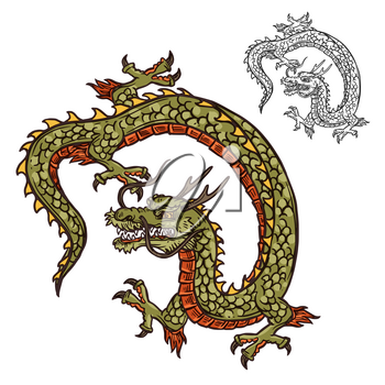 Dragon with three-toed claws Japanese tattoo design or religion mascot. Mythical beast with scales and horns, whiskers and tail. Oriental culture legendary creature or monster vector isolated