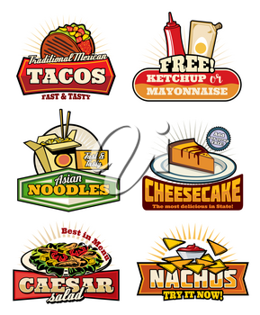 Fast food restaurant vintage symbols with snack and desserts. Mexican taco and nacho with sauce, chinese noodle with chopsticks, american cheesecake and caesar salad retro icons for cafe menu design
