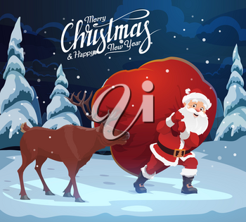 Santa Claus carrying bag of Christmas gifts, reindeer helping. Vector fairy character with presents in forest, winter holiday card. Wild animal and elderly man in woods, spruce or fir