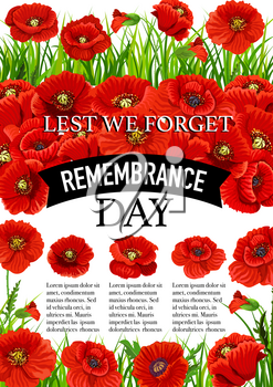 Poppy poster for 11 November Remembrance Day greeting card design. Vector red poppy flowers on Lest We Forget black ribbon for world freedom memorial and Commonwealth veterans commemoration