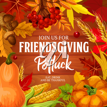 Friendsgiving potluck dinner, Thanksgiving holiday invitation. Vector Friendsgiving feast or friends dinner eat and drink, of pumpkin, butternut, acorns, berry and leaves foliage