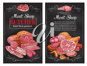 Butcher shop meat sketch poster of fresh meat, sausages and gourmet delicatessen. Vector pork bacon or beef steak and tenderloin, bb grill brisket and chicken wings or ham, cervelat and pepperoni