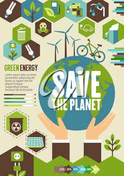 Green energy eco banner for Save Planet or ecology and environment protection design. Earth globe in hands with wind turbine and bike poster, supplemented by recycle, solar panel and green tree sign