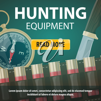 Hunting equipment poster or web landing page for hunter store on open season club. Vector design of hunt knife, compass and bullets of rifle gun for wild African animals safari hunt