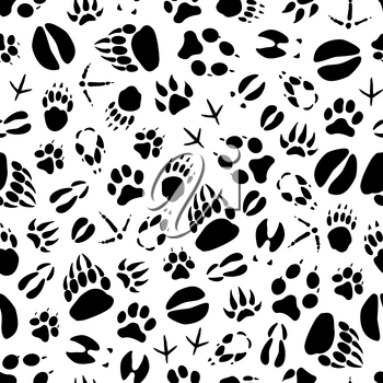 Animals and birds footprints seamless pattern on snow. Vector wild bear or wolf and hare paws tracks, boar or elk and deer hoof imprints or crow and sparrow claws background