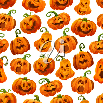 Halloween pumpkin seamless pattern background. Autumn horror holiday festive jack o lantern with funny face and smile for Halloween greeting card backdrop and october holiday wrapping paper design