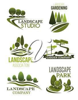 Landscape design icons, landscaping studio and gardening company theme. Green tree plant and lawn of park symbols for garden planning, city square maintenance and landscaping service. Vector