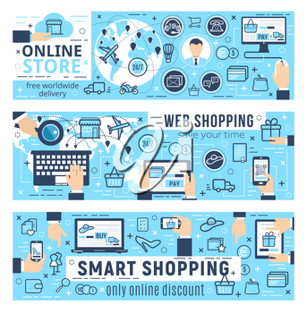 Online store web shopping vector infographics. Buying via internet, analytical statistics tools. Free delivery services, discounts on goods and effective sale strategy, profiles and gadgets icons