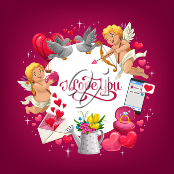 Valentines Day I love you vector greeting card with romantic holiday gifts. Red hearts, bouquet of flowers and wedding ring, love letter envelope, Cupids with arrows, bows and couple of loving birds