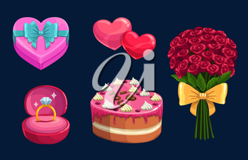Valentines Day gift vector icons. Love hearts, present box and bouquet of red rose flowers with ribbon bows, chocolate cake and diamond ring symbols of february romantic holiday or wedding design