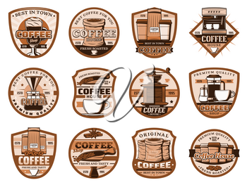 Coffee machine and pot, grinder icons. Vector latte and beans in sack, takeaway paper, glass cup and sugar, scoop and turk. Coffee brewing, cinnamon and anise star spices