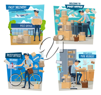 Mailman or postman, mail delivery, parcels and airmail. Vector man in uniform with bag and bicycle, post office and airplane, conveyor with boxes and mailbox. Express shipping, newspaper and journal