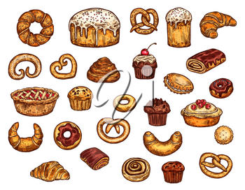 Bakery shop pastry, desserts ans sweet cakes. Patisserie or cafeteria food. Vector wheat bagel donut, croissant and muffin with chocolate pie and cinnamon roll, berry cupcake