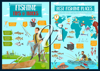 Fishing, hobby and sport fish catch. Vector fisherman with net and tackles or lures at lake or sea, seafood and fish catch of squid, pike or perch and marlin, shrimp and salmon on world map
