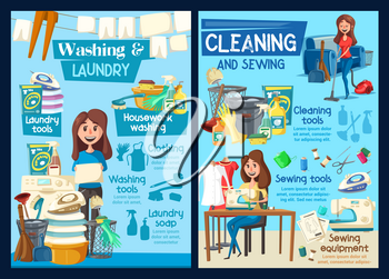 Home laundry washing, house cleaning and needlework service. Vector professional housekeeping, floor mopping or window glass polishing, washing machine and clothes ironing or clothes sewing