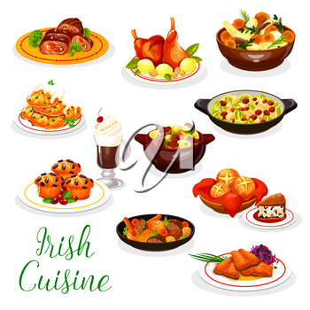 Cuisine of Ireland vector design with Irish coffee, meat and fish dishes. Vegetable stews with rabbit and lamb, baked salmon, potato pancake and red cabbage salad, beef roll, soda bread, berry cupcake