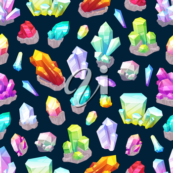 Crystals, gemstones and natural minerals seamless pattern. Vector cutted precious stones, sparkling diamonds. Background jewelry industry gems, garnet, emerald, amethyst and quartz, sapphire and ruby