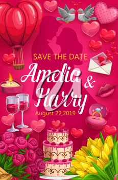 Wedding ceremony Save the Date vector design. Bride and groom with rings, love hearts and flower bouquets, chocolate cake, letter envelope and wine glasses, candle, birds, kiss lips, roses and tulips
