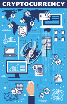 Cryptocurrency blockchain, bitcoin mining and crypto currency in world. Vector digital money network servers, currency exchange, finance online trade and market cryptocurrency transactions in world