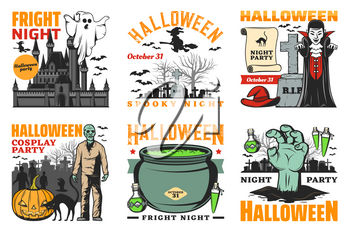 Halloween party vector design with horror night monster icons. Ghost, witch and pumpkin, bats, Dracula vampire and zombie, potion cauldron, haunted house and cemetery gravestone emblems