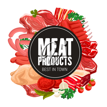 Butcher shop meat and sausages gourmet delicatessen. Vector gastronomy meat food products, turkey or chicken, salami sausage, beef steak and pork ham with bacon, mutton ribs and cooking spices