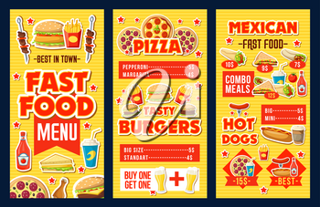Fast food restaurant burgers, hot dogs and pizza menu. Vector fastfood combo meals menu of cheeseburger, Mexican cuisine tacos and burrito with ketchup, beer or soda drinks, donut dessert and coffee
