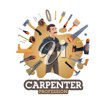 Carpenter profession and frame of work tools. Vector repair and building instruments, construction and renovation. Saw and screwdriver, pliers and meter, hammer and nails, brush, handyman items