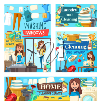 House cleaning service, professional laundry, sewing needlework and windows washing. Vector posters of housewife cleaning tools and items, floor mop, vacuum cleaner, washing and sewing machine