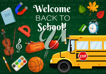 Welcome back to school, 1st September time to start lessons. Vector green chalkboard with formulas, bus transport and stationery items. Clock and leaves, basketball and violin, music note, protractor