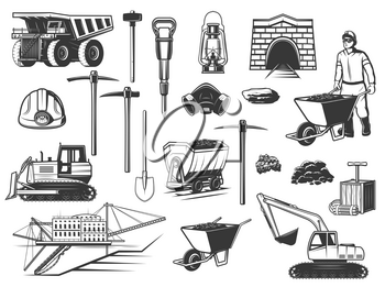 Coal mining industry, miner and underground equipment icons. Vector mine worker, dump truck and helmet, pickaxe, shovel and ore pit, excavator, digger and rail cart, oil lamp and dynamite