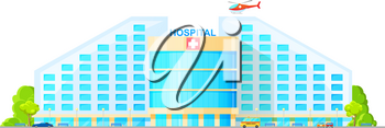 Hospital building on city street isolated. Vector modern clinic with emergency helicopter, parking zone