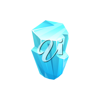 Ice crystal icon of rock iceberg, cold cube of snow, blue vector block. Winter frozen water or gem, isolated icicle, arctic ice crystal rock or frost glass diamond, glacier or cracked stalagmite