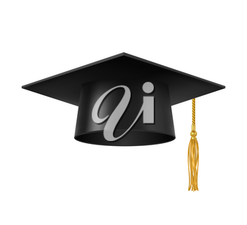 Graduate cap with tassel. Isolated university, college or academy student square hat with golden tassel. Academic and high school education degree, professor and knowledge 3d realistic vector symbol
