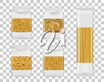 Italian pasta food package mockups. Foil or plastic bags with clear windows realistic vector Italian macaroni, spaghetti and farfalle packs, penne, elbow and tagliatelle packets