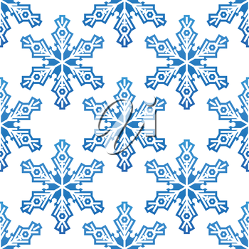 Seamless pattern with blue snowflakes for background design