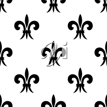 Black and white vector illustration of a repeat seamless pattern of French lilies of the valley or fleur de lys