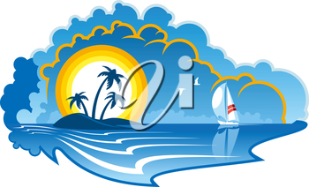 Vector cartoon illustration of an idyllic tropical island with palm trees and a yacht or sailboat depicting a summer vacation, travel or cruise