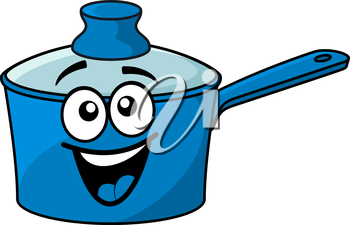 Laughing happy blue cartoon cooking saucepan with a big smile and lid isolated on white
