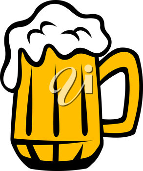 Tankard of golden lager with a frothy head running over the glass, cartoon isolated on white