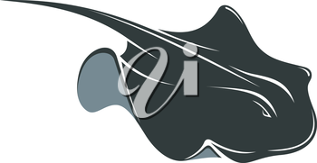 Swimming manta ray with a long tail and wing-like pectoral fins, cartoon illustration isolated on white