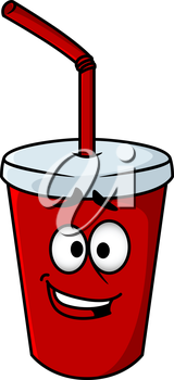 Cartoon takeaway soda in a colourful red mug with a straw and happy smiling face, vector illustration