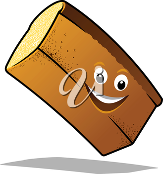 Bouncing happy loaf of fresh white bread with a big smile and shadow in cartoon style