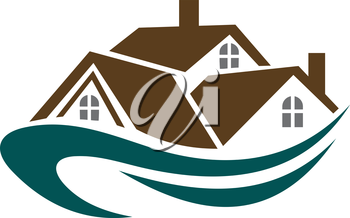 Real estate symbol - house roofs with waves for design
