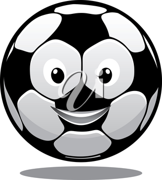 Happy smiling soccer ball with a hexagonal black and white pattern and a bouncing shadow, cartoon illustration