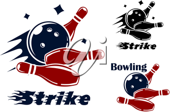 Bowling icons and symbols with the text - Strike - as the bowl hits the pins with speed and motion trails and one with the text - Bowling - and no motion trail
