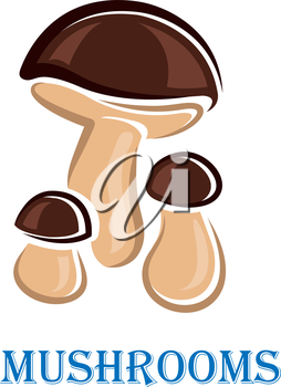 Mushrooms icon or poster design with three brown cartoon mushrooms above the word - Mushrooms - in blue, isolated on white