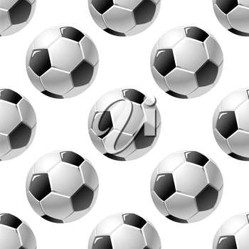 Black and white dimensional football or soccer ball seamless background pattern with a repeat motif in square format