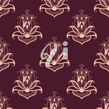 Paisley floral seamless pattern with ornate elegant repeat persian motifs in pink on purple, square format suitable for wallpaper or fabric design