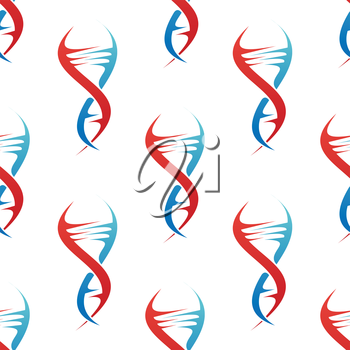 Stylized colorful blue and red DNA spiral helix seamless background pattern conceptual of medicine and genetics in square format